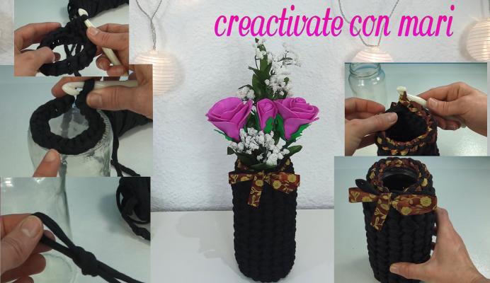cómo hacer un jarrón a crochet con trapillo